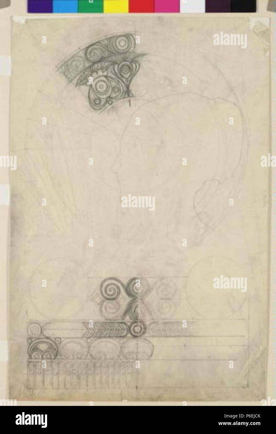 .: Studie eština k dekorativnímu panneau Chardon de Greves circa 1901 6 Autor Alfons Mucha 24.7.1860-14.7.1939 - Studie k dekorativnimu panneau Chardon de Greves Foto de stock