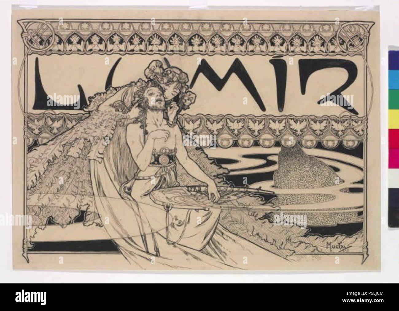 .: Záhlaví eština asopisu Lumír 1898 6 Autor Alfons Mucha 24.7.1860-14.7.1939 - Zahlavi casopisu Lumir Foto de stock