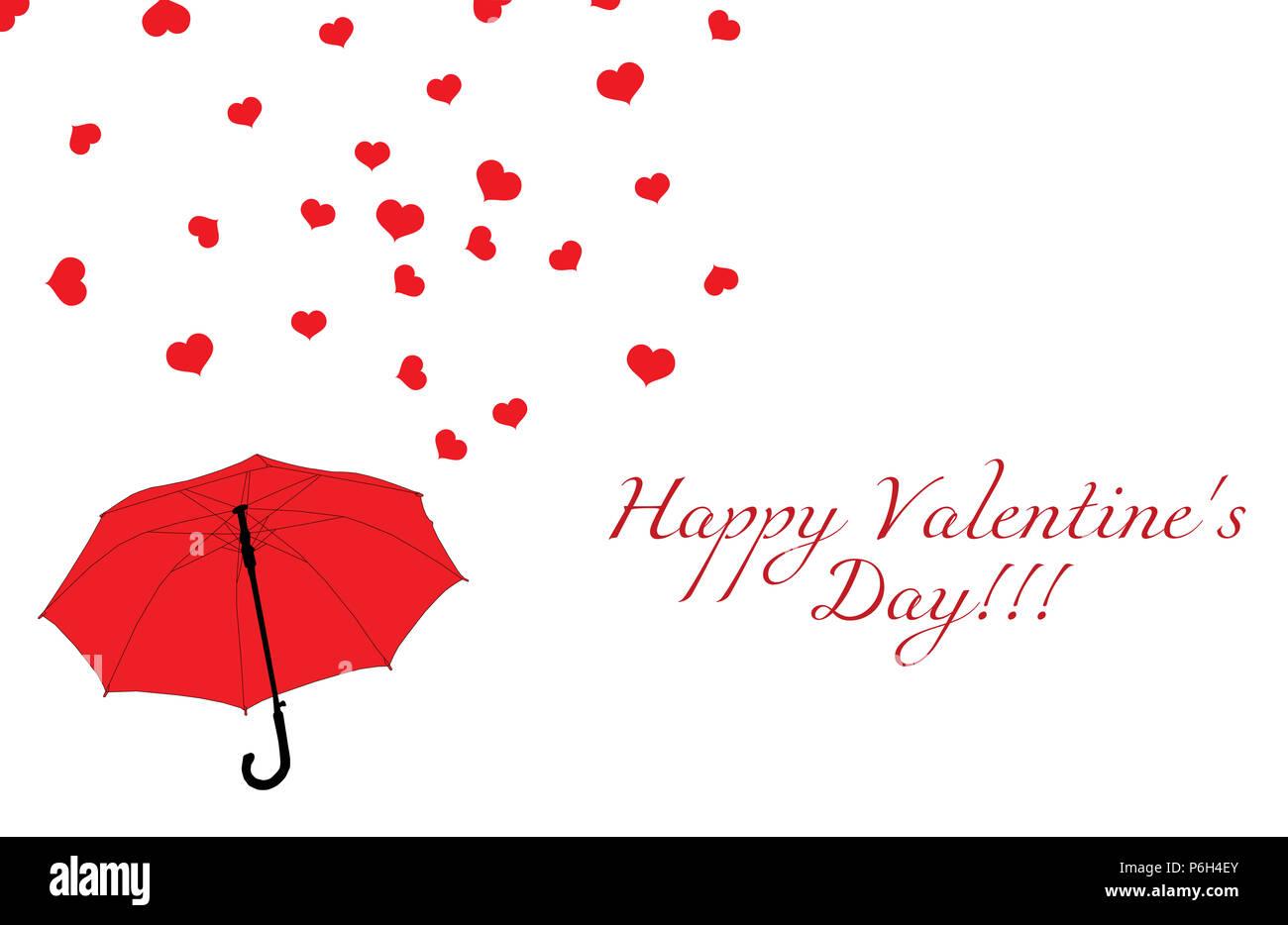 Sombrilla Roja Y Lluvia De Corazones Sobre Fondo Blanco Feliz Día