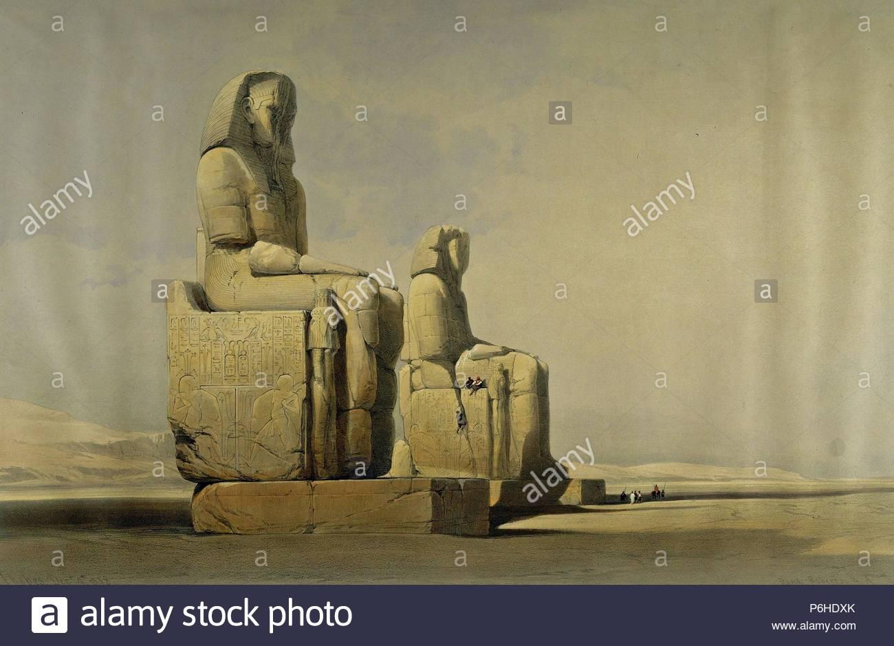 Los colosos de memmon estatua Amenphis III, litografía de David Roberts, 1838. Foto de stock