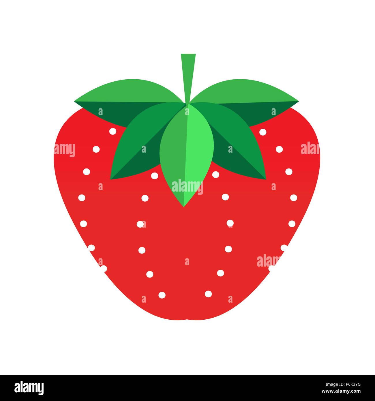 Ilustración de una fresa sobre un fondo blanco. Hojas estilizadas y patrones de semillas. Moderna, fresca, divertida. Imagen De Stock