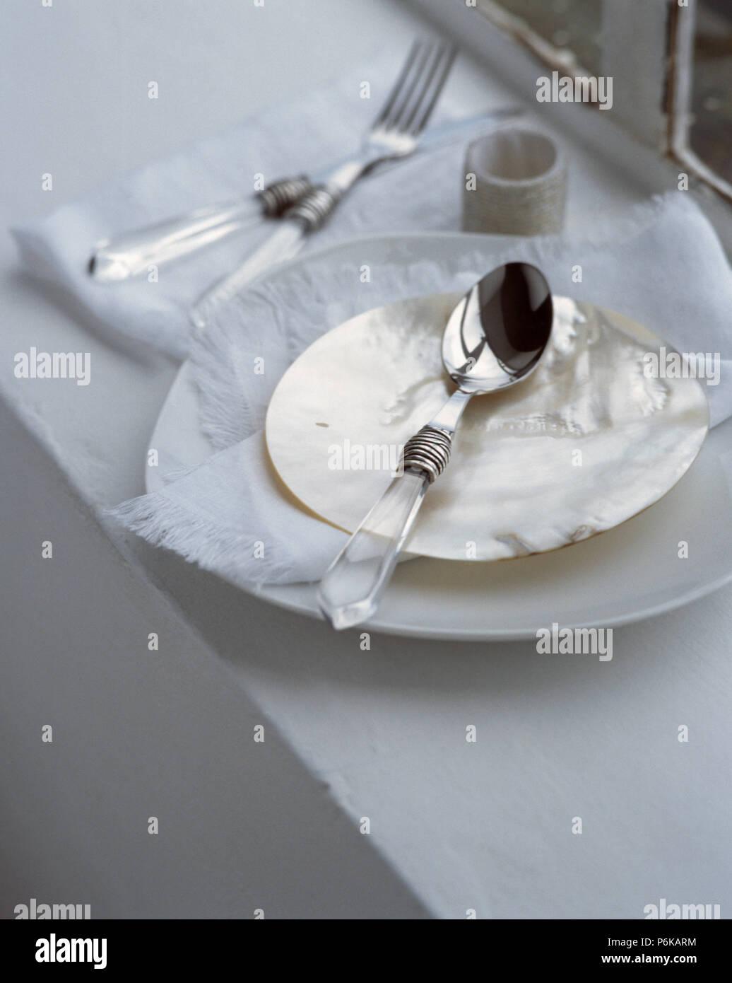 Close-up de acrílico transparente manejan cuchara en nácar de placa Foto de stock