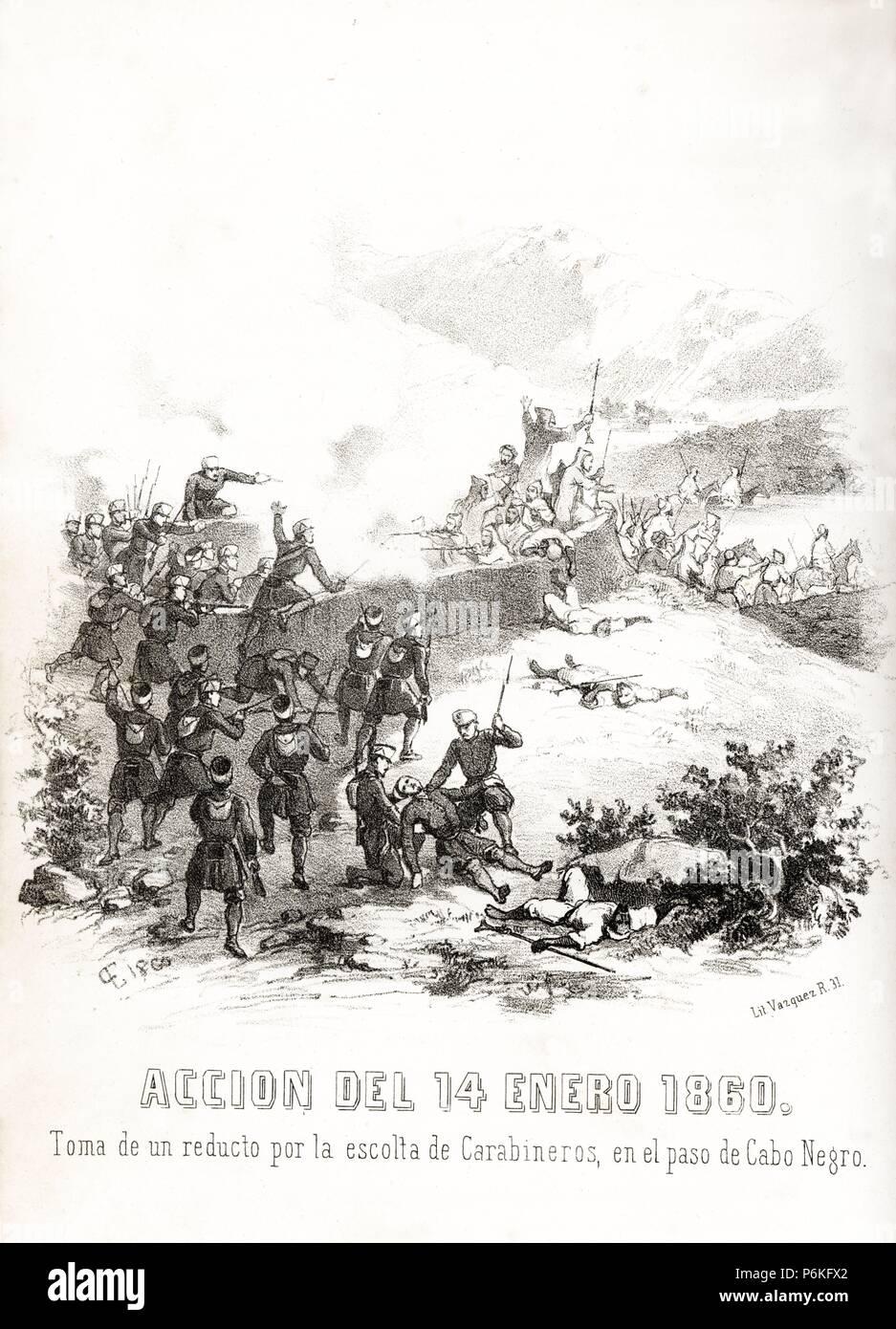 España. Guerra de África. Toma de un reducto en el paso del Cabo Negro por los carabineros. Grabado de 1860. Foto de stock