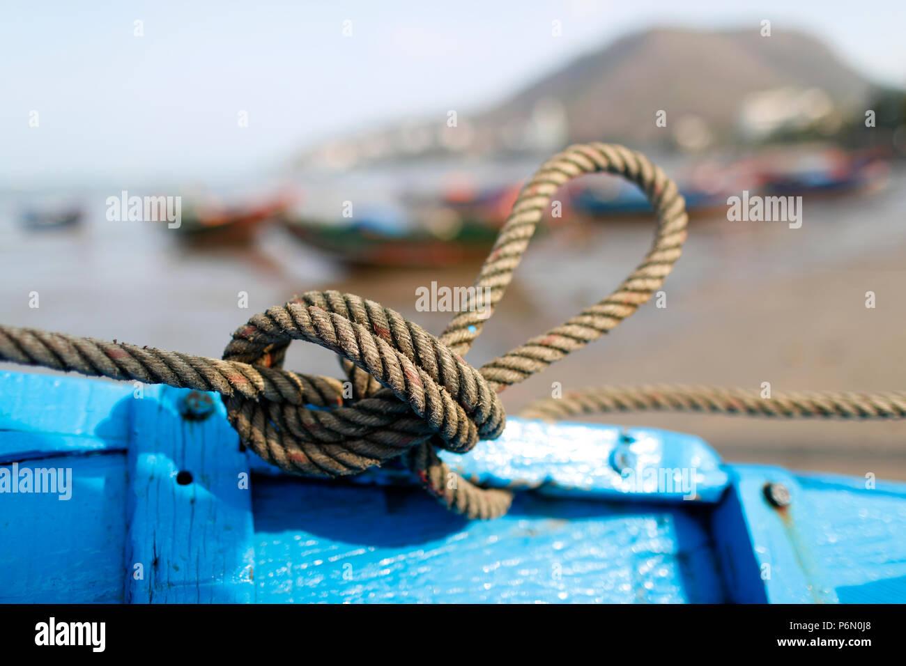 Sogas náuticas. Nudo marino. Vung Tau. Vietnam. Foto de stock