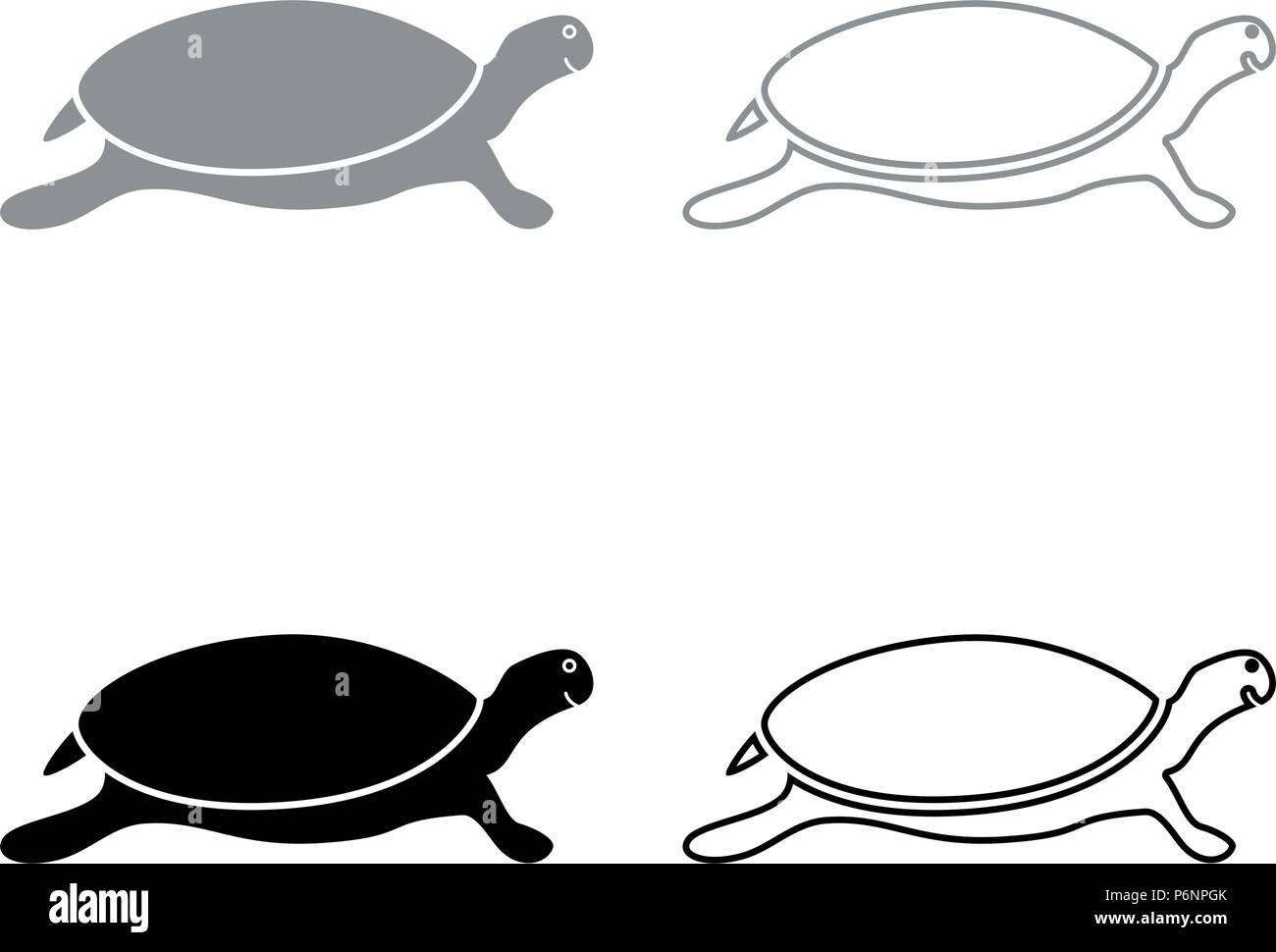 Tortuga tortuga conjunto de iconos ilustración en color negro gris ...