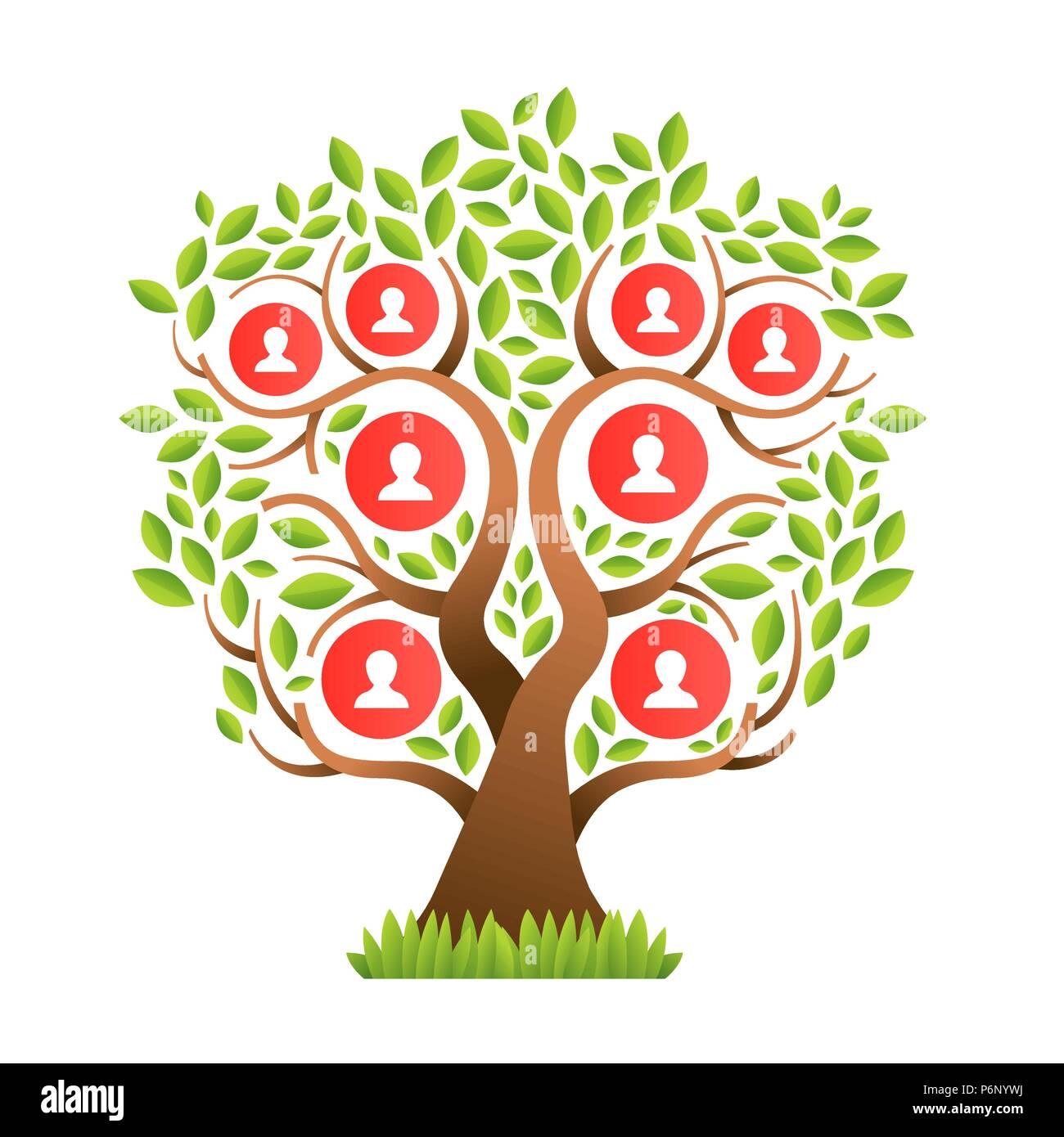 Concepto De Plantilla De árbol Familiar Con Personas Iconos Y