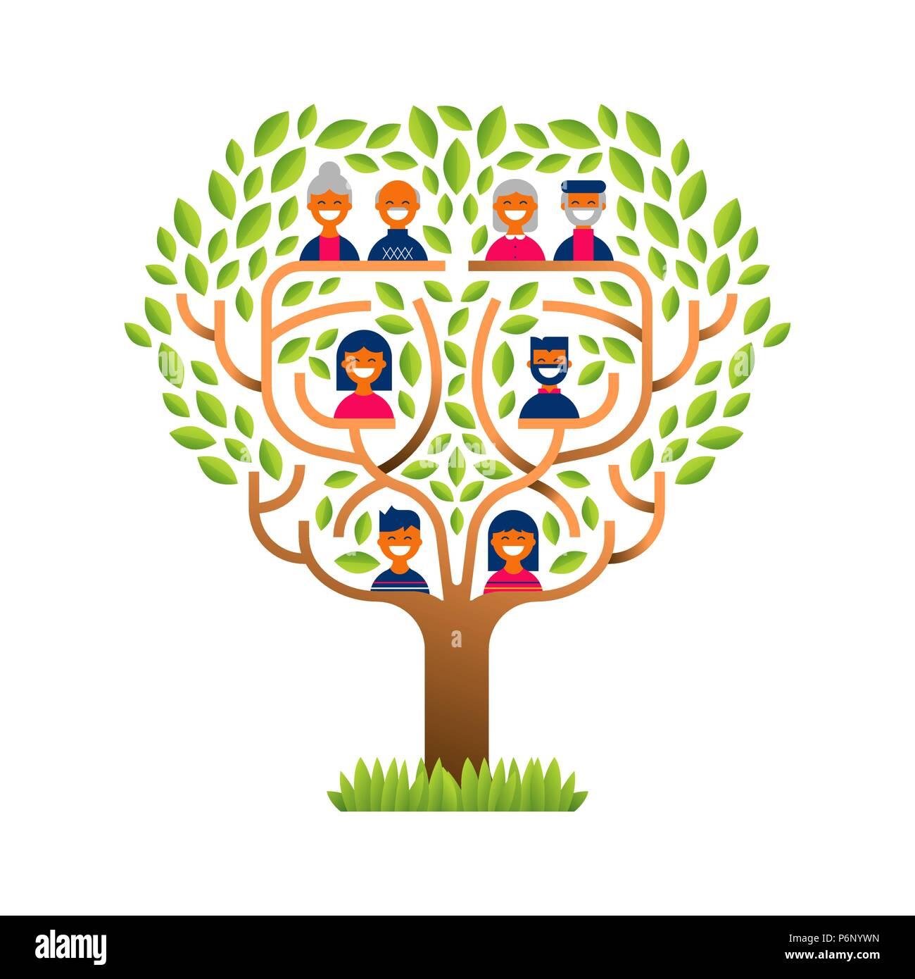 Gran árbol familiar concepto de plantilla con personas iconos para ...