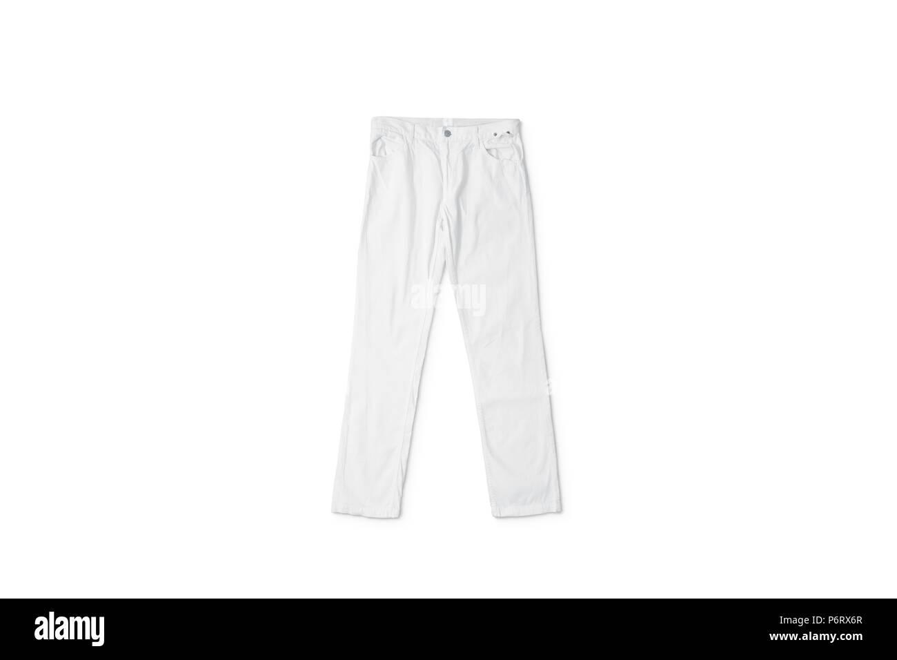 4c2dafabc Pantalón blanco acostado de maquetas, vista frontal, aislado. Claro  pantalones boceto. Pantalon vacía con una plantilla de botón. Tela jeans  design ...