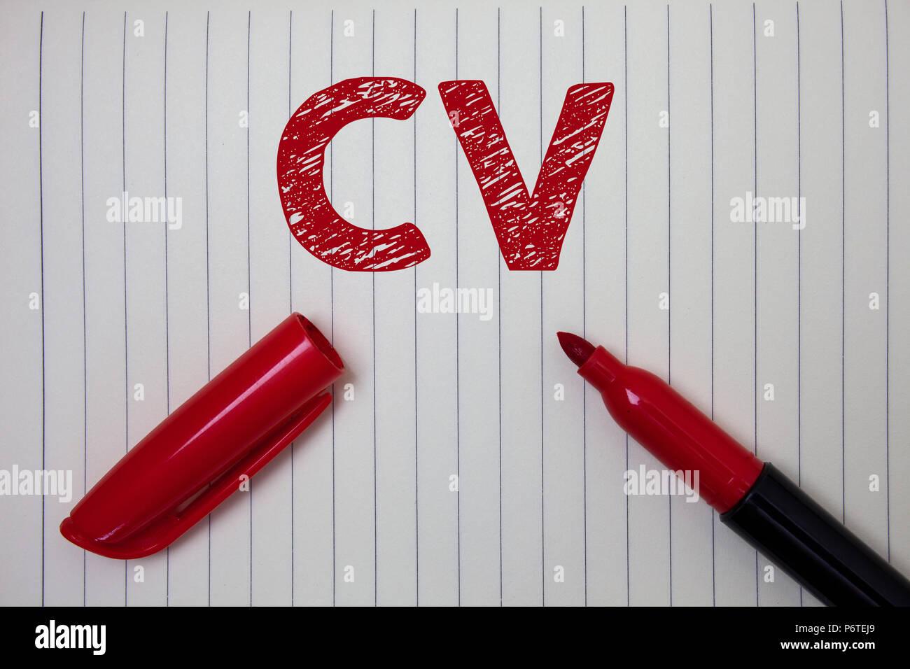 Escritura de texto Word Cv. Concepto de negocio para el Currículum ...