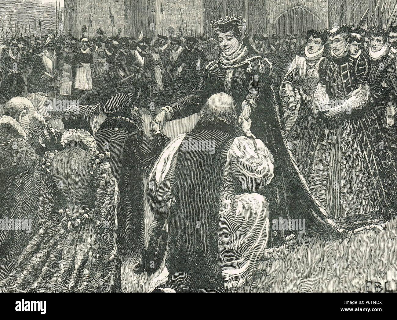 La reina María I, liberando el estado presos desde la Torre de Londres, Inglaterra, 1553. La liberación de la Iglesia Católica Romana duque de Norfolk, Edward Courtenay y Stephen Gardiner desde la prisión, tras el complot para poner Juana Grey en el trono Imagen De Stock