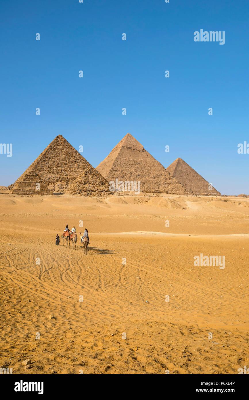Pirámides de Giza, en Giza, Cairo, Egipto Imagen De Stock