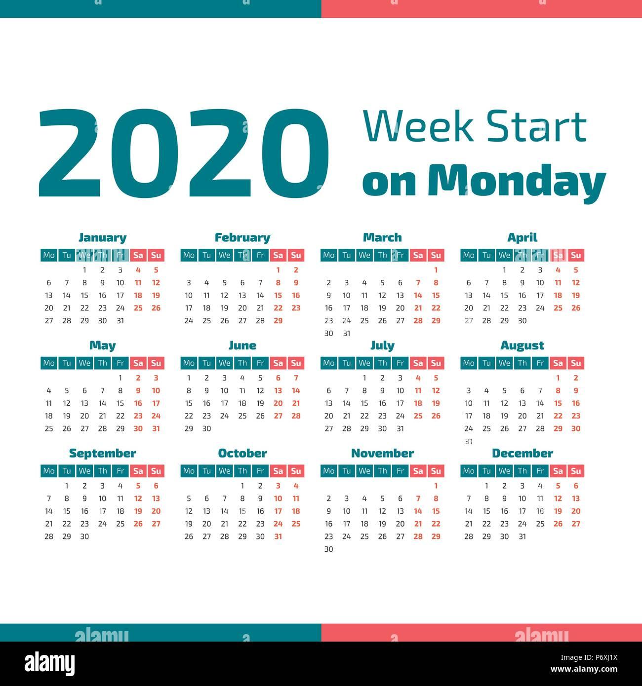 Calendario Por Semanas 2020.Simple Calendario Del Ano 2020 La Semana Comienza En Lunes