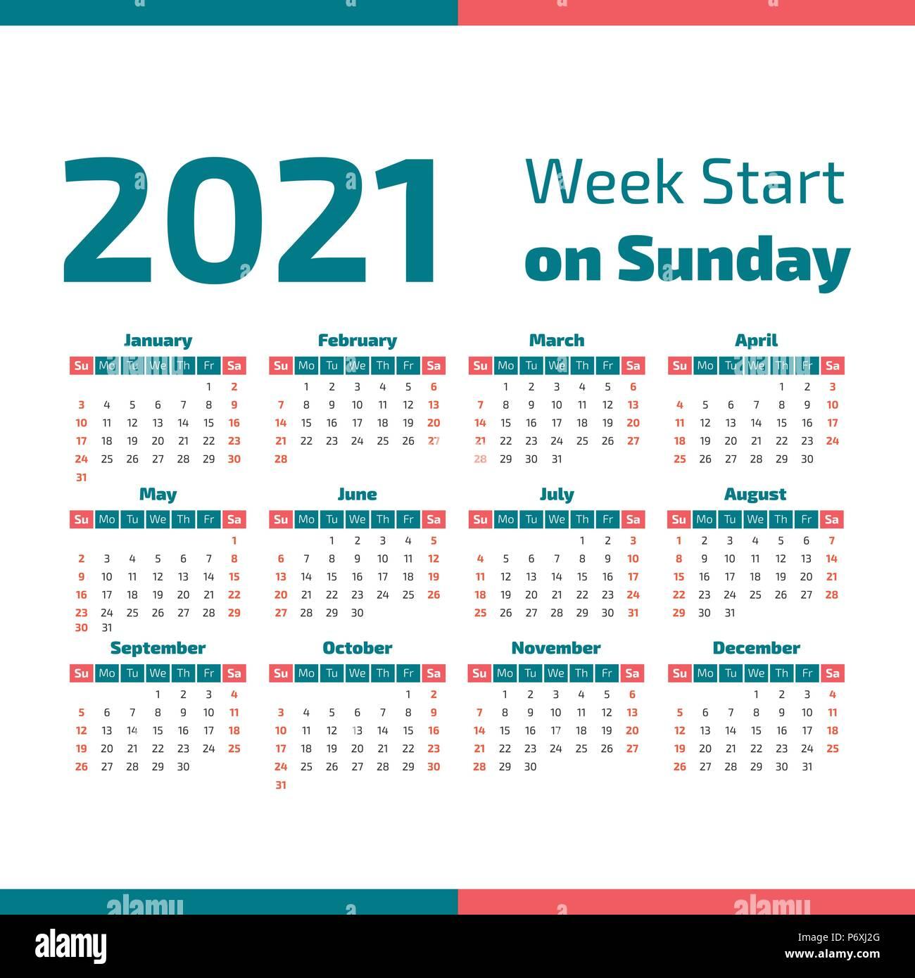 Simple calendario del año 2021, la semana comienza en domingo Ilustración del Vector