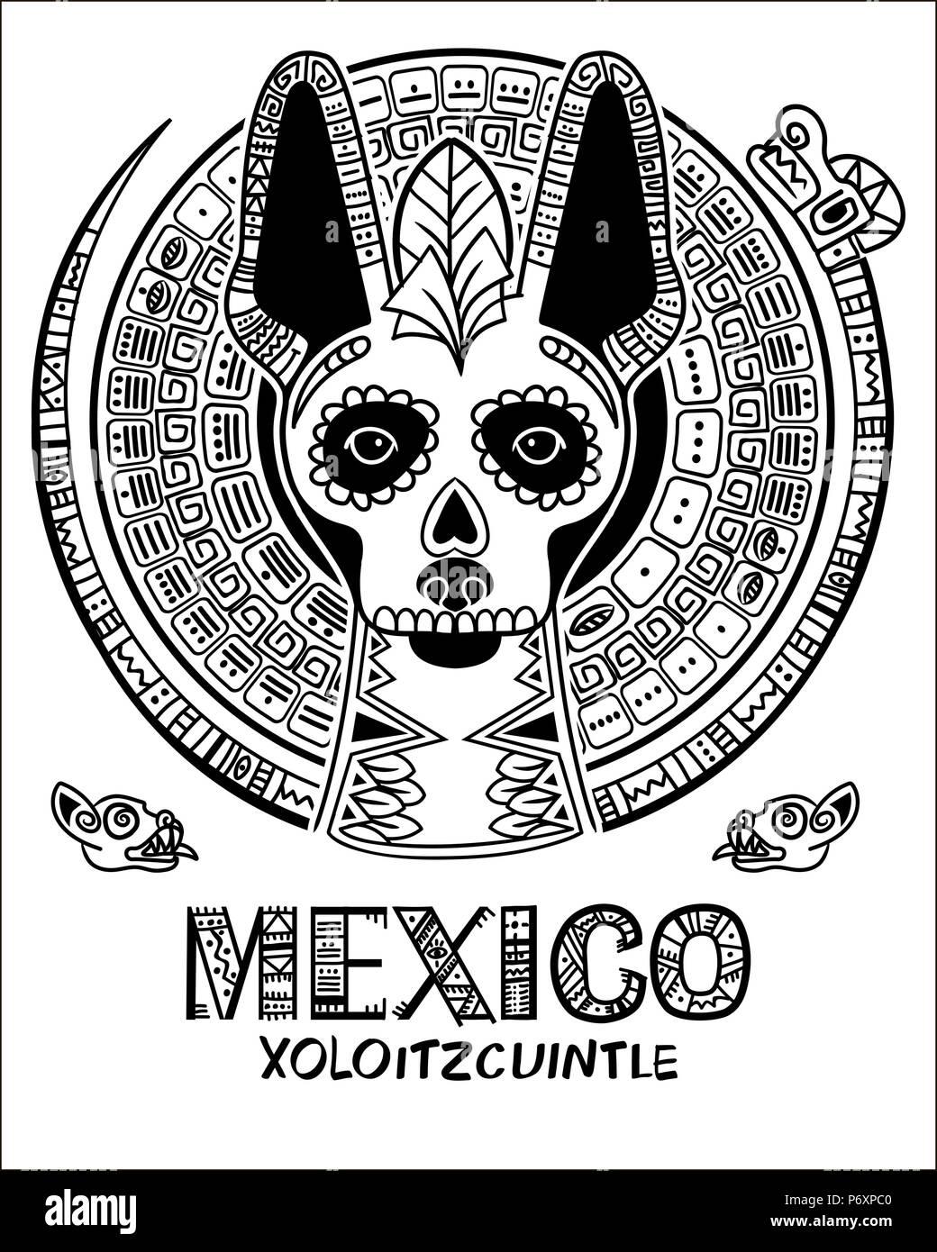 Imagen Vectorial De Un Perro En Estilo étnico Mexicanos Y