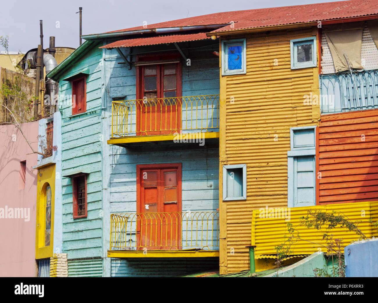 Argentina, Provincia de Buenos Aires, Ciudad de Buenos Aires, La Boca, la vista de colorido Caminito. Foto de stock