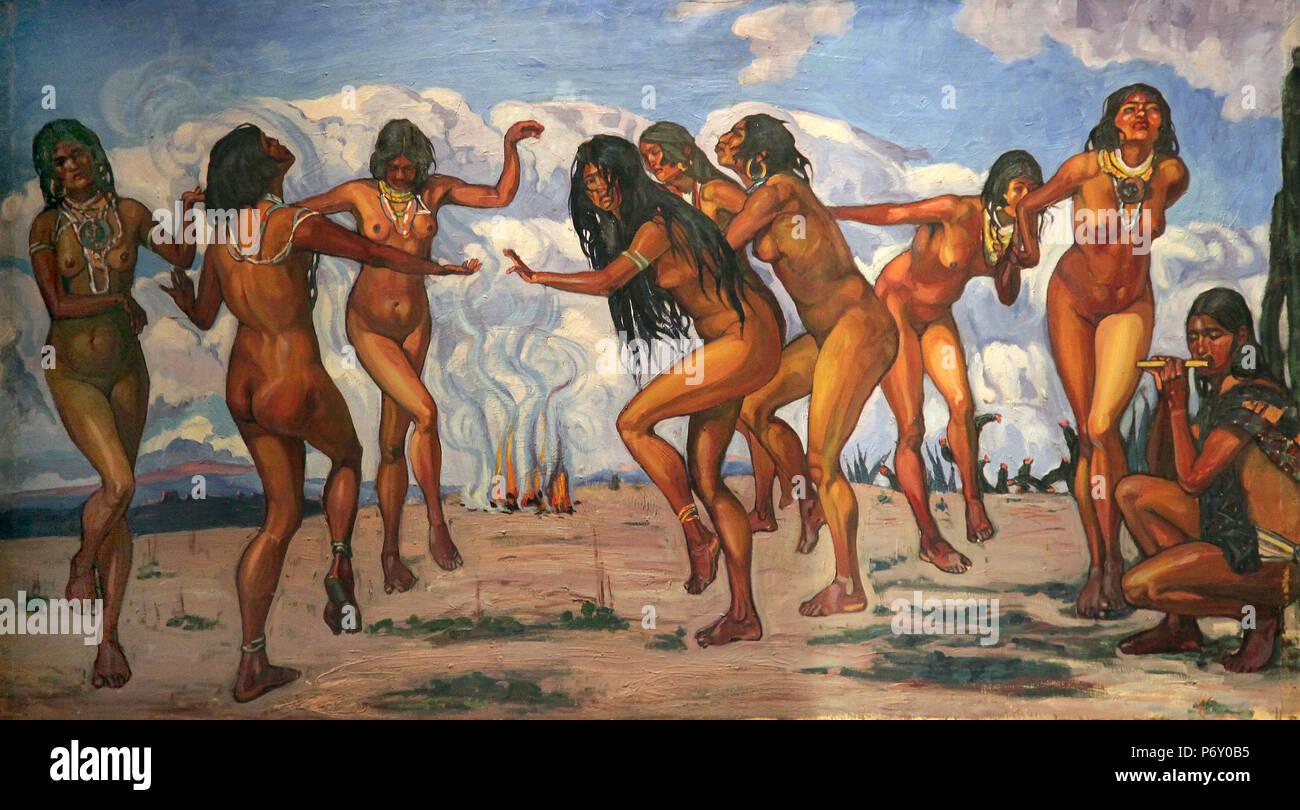 Danza Ceremonial de 1922 por el artista Camilo Egas 1889-1962 Quito Ecuador.También vivió (y murió) en el Bronx, Nueva York, EE.UU Imagen De Stock