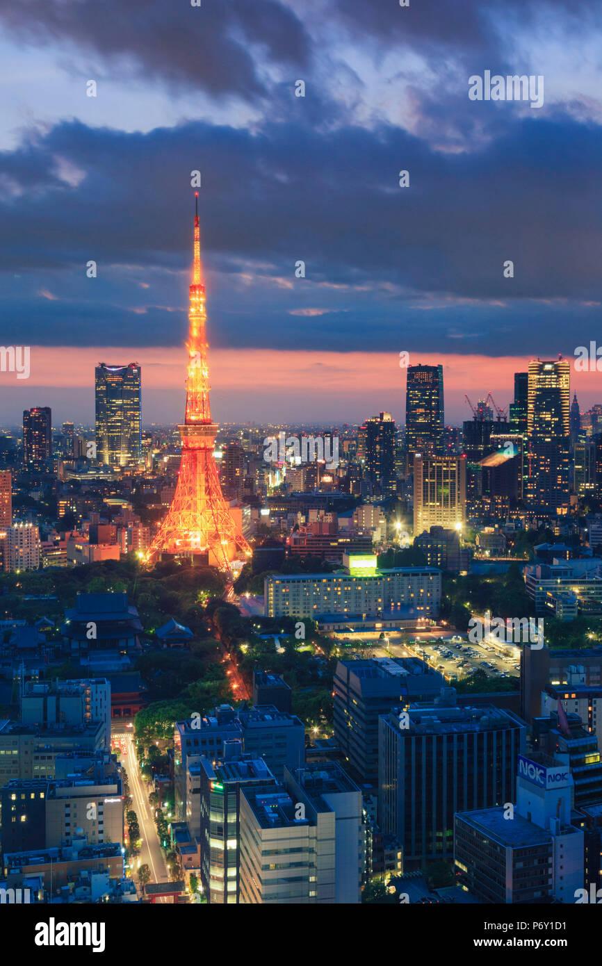 Japón, Tokio, horizonte de Tokio y de la Torre de Tokio Imagen De Stock
