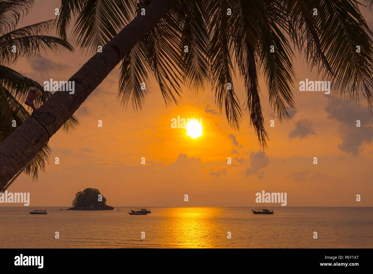 Malasia, Pahang, Pulau Tioman (la isla de Tioman), el Berjaya Beach, Pulau Rengis Rengis (isla). Foto de stock