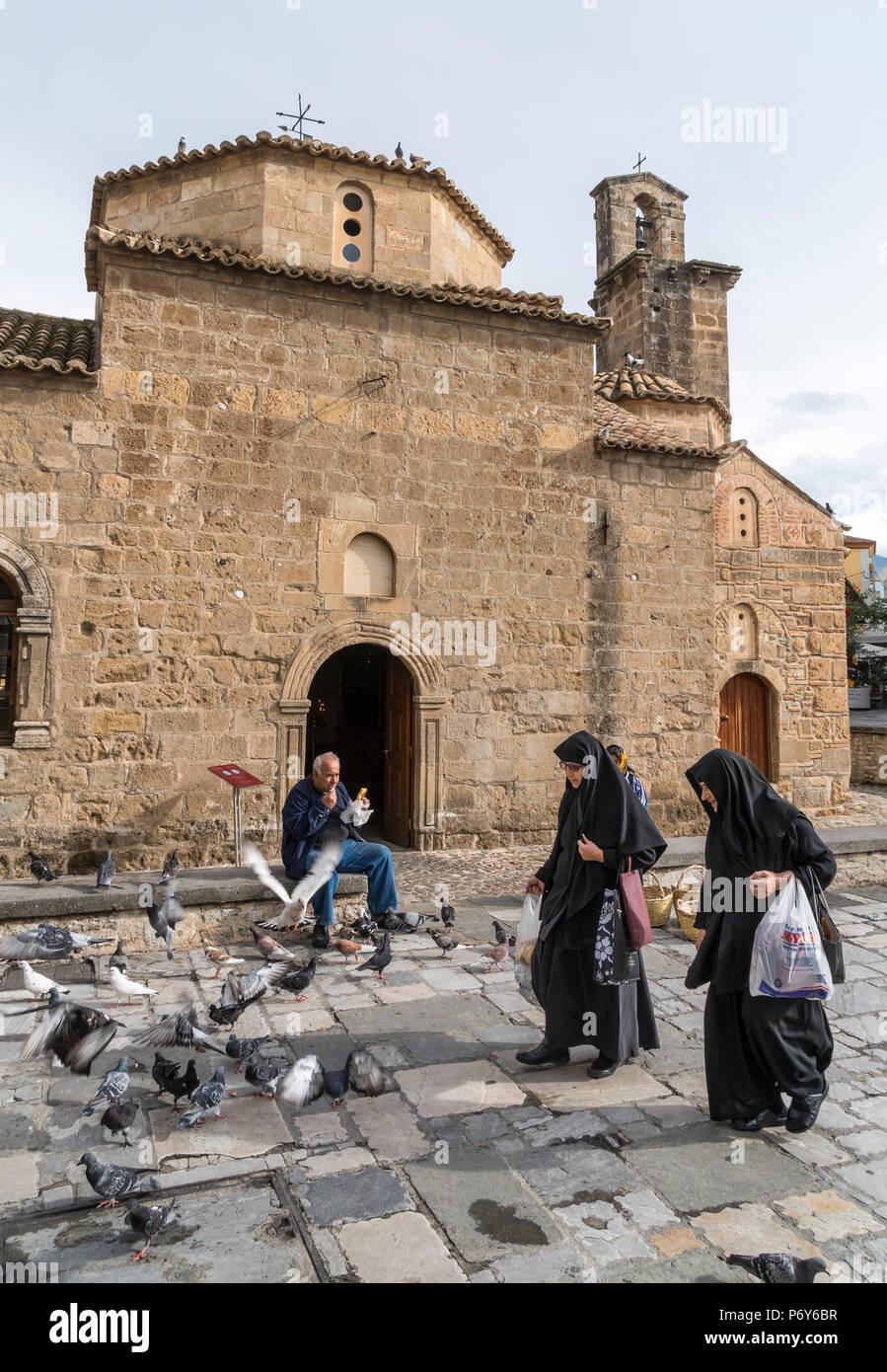 El siglo XIII la iglesia bizantina de Agii Apostoli en el Old Quarter de Kalamata. La Guerra de Independencia griega fue declarado oficialmente aquí el 23 de marzo Foto de stock