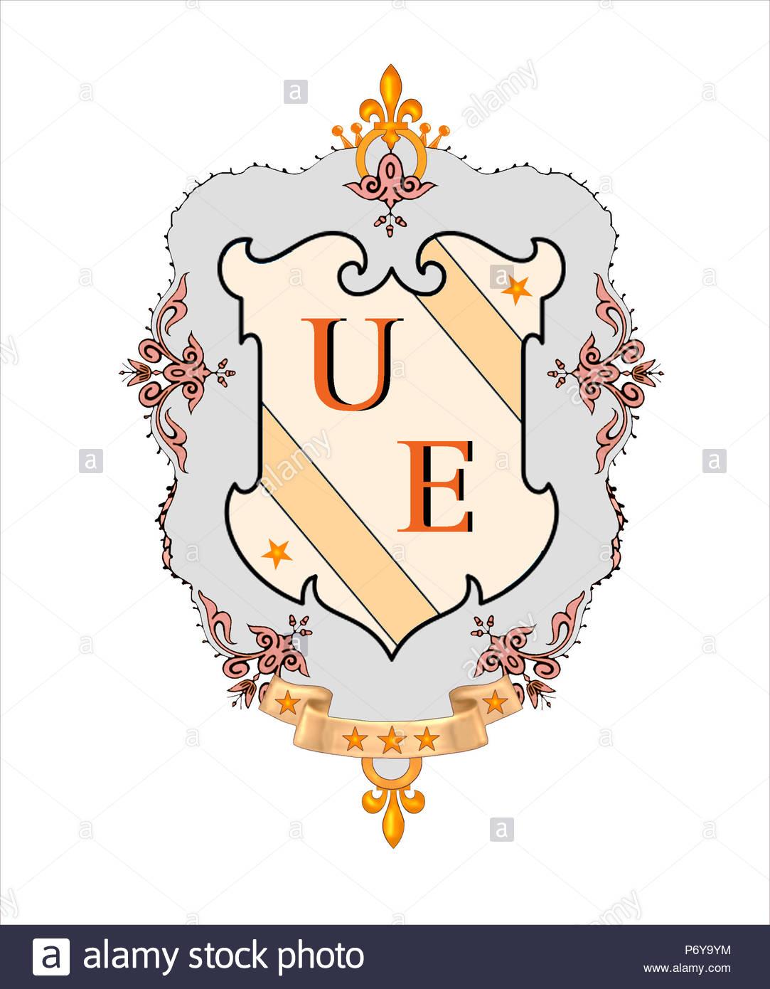 Diseño decorativo que rodean Bold iniciales para etiquetas adhesivas en el equipaje, portátiles, etc. como un diseño en una camiseta, gorra, taza de café, logotipo, etc. Imagen De Stock