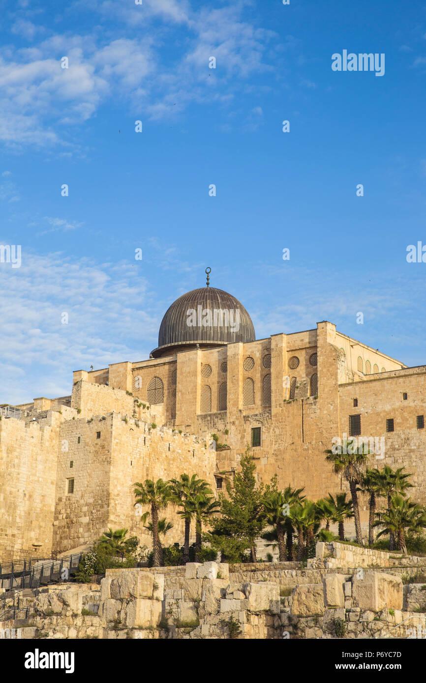 Israel, Jerusalén, Jerusalén Parque Arqueológico y Centro Davidson, muro de Ophel Imagen De Stock
