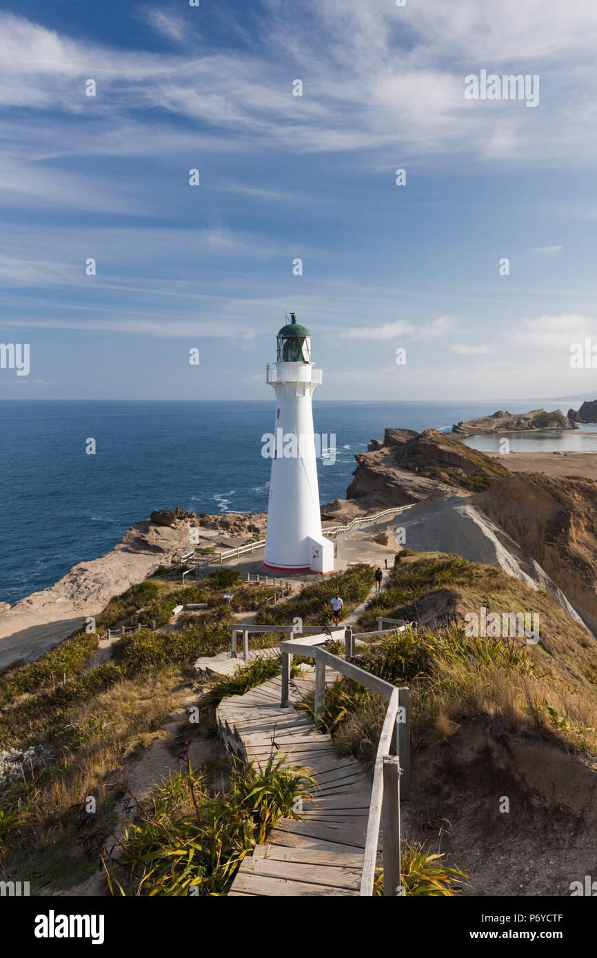 Nueva Zelanda, el norte de la isla, Faro Castlepoint Castlepoint, Imagen De Stock