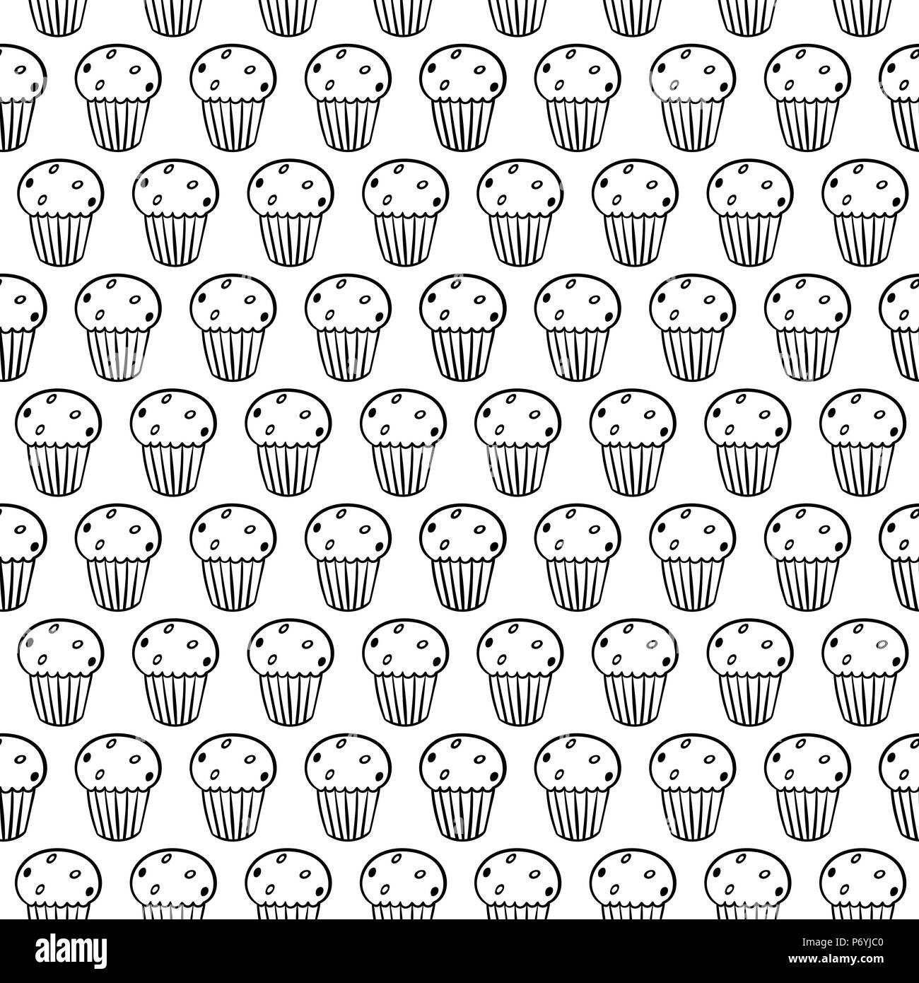 Cupcakes Cute Dibujos Animados Sobre Fondo Blanco Sencillo
