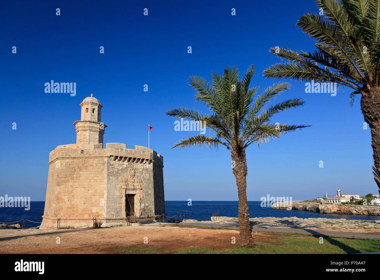 España, Islas Baleares, Menorca, Ciutadella, el casco antiguo, el castillo de Sant Nicolau Imagen De Stock