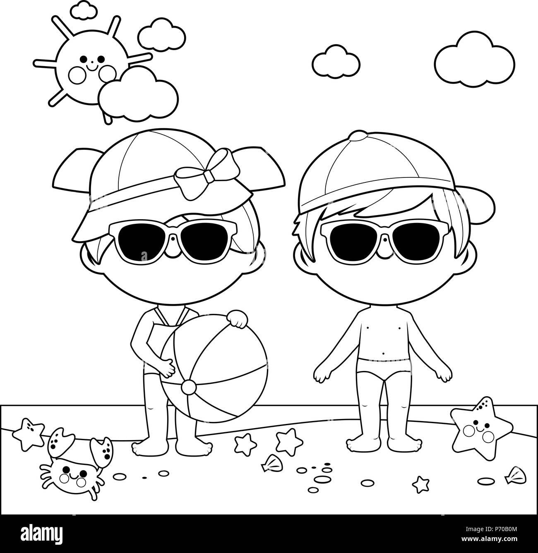 Niños En La Playa Con Gorras Y Gafas De Sol Libro Para Colorear De