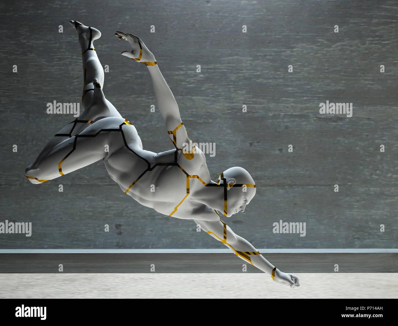 3D Render. La figura del hombre de piedra. Imagen De Stock
