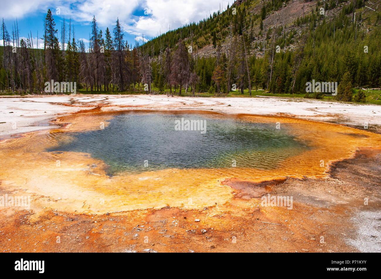 Piscina termal caliente en el Parque Nacional de Yellowstone. Imagen De Stock