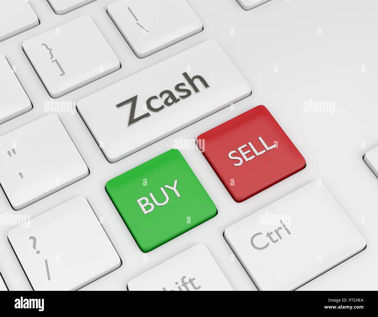 3D Render de teclado de ordenador con Zcash botón. Concepto Cryptocurrencies. Imagen De Stock