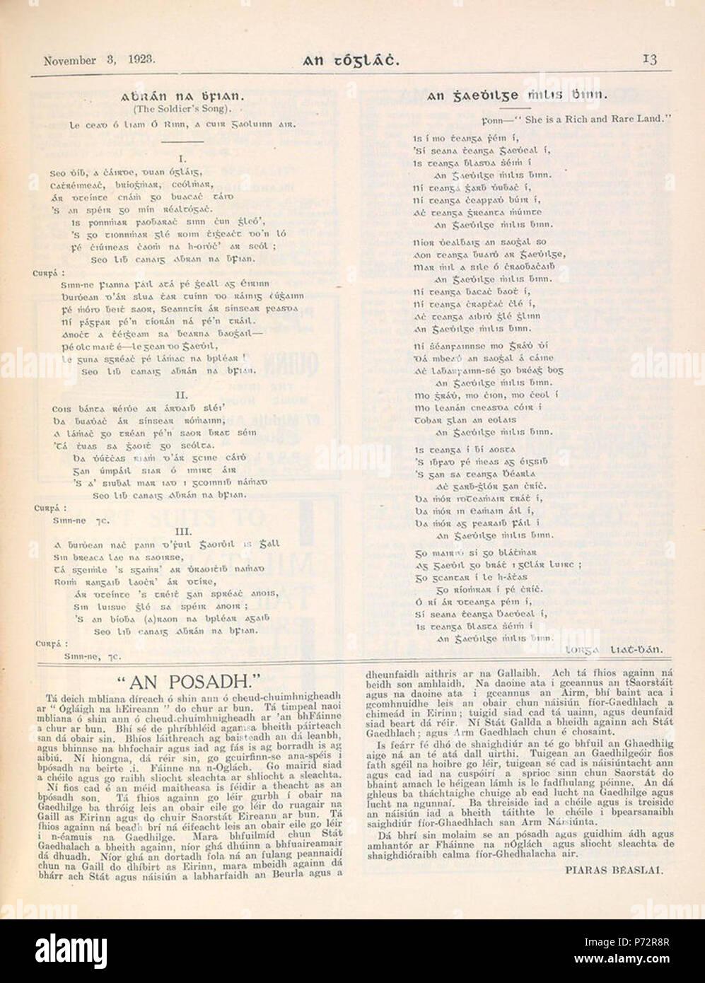 Inglés Himno Nacional De Irlanda En Irlandés Letras Desde 1923 El 3 De Noviembre De 1923 1 Himno Nacional Irlandés 1923 Fotografía De Stock Alamy