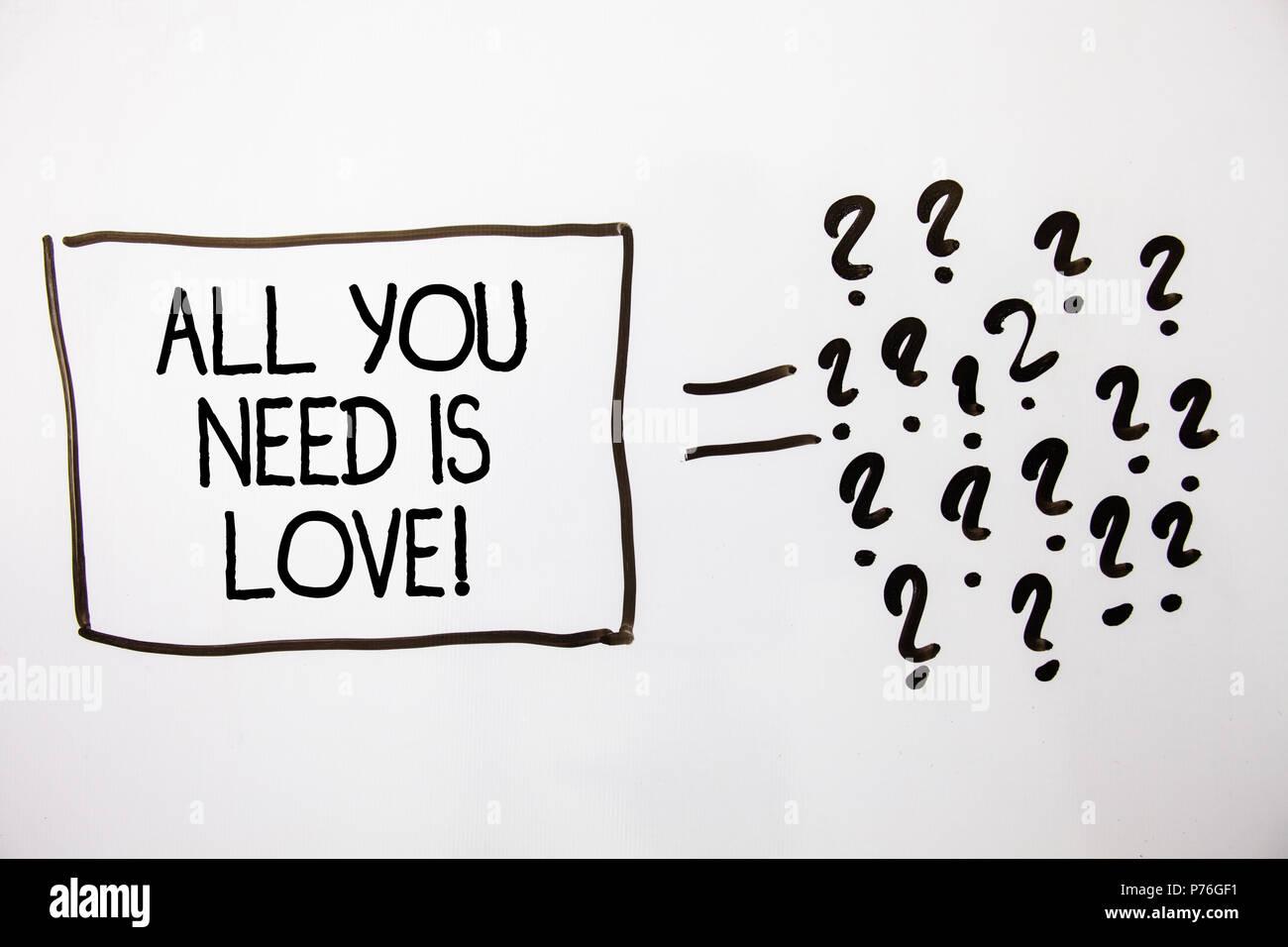 Signo De Texto Mostrando Todo Lo Que Necesitas Es Amor