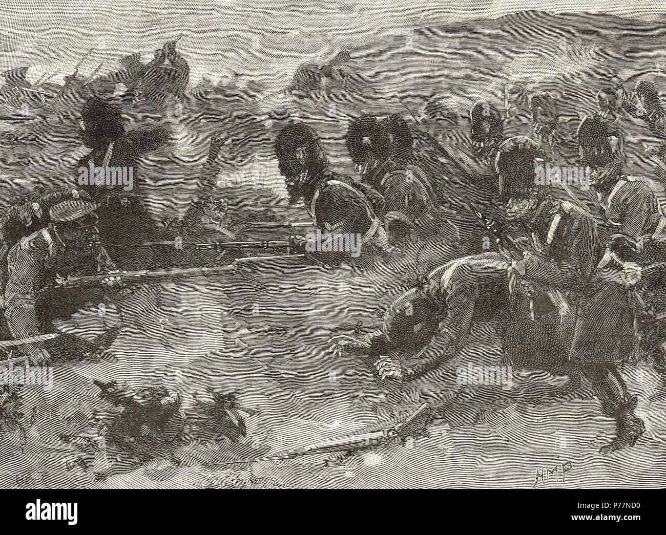 La Brigada de Guardias, recuperando la bolsa de arena batería, Batalla de Inkerman, 5 de noviembre de 1854 Foto de stock