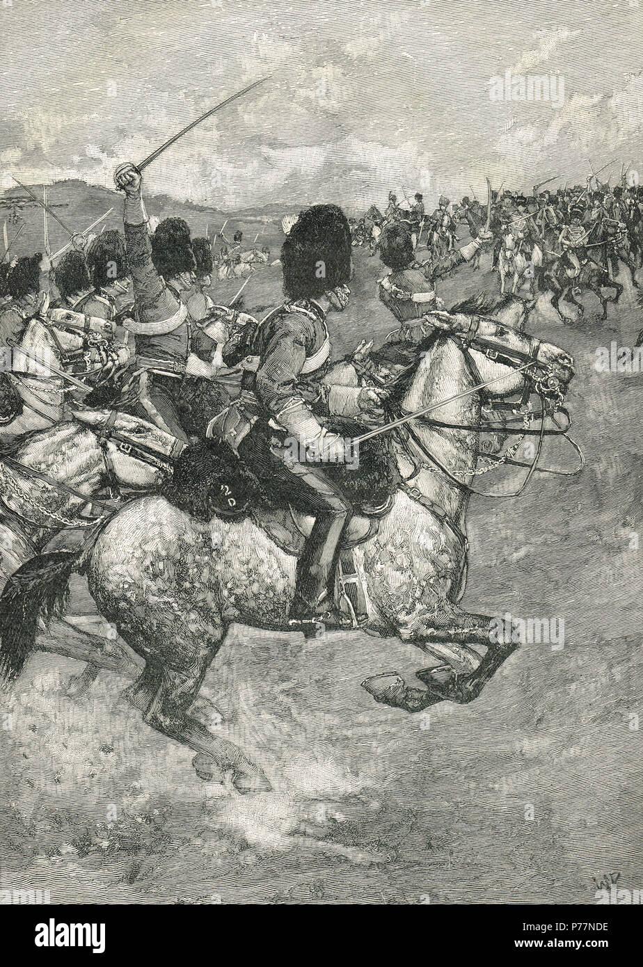Carga de la Brigada pesada, Batalla de Balaclava, el 25 de octubre de 1854 Foto de stock