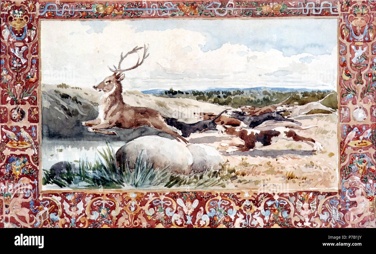 62 Perros levantando un ciervo. Motivo cinegético - Daniel Zuloaga Foto de stock