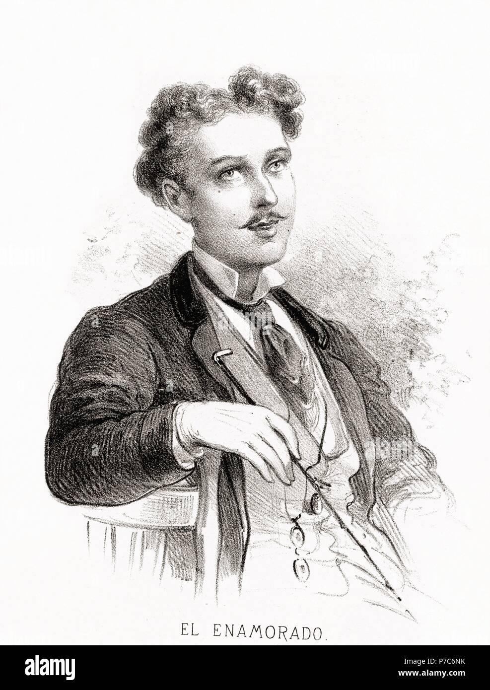Carácteres del individuo. Hombre enamorado. Grabado de 1870. Foto de stock