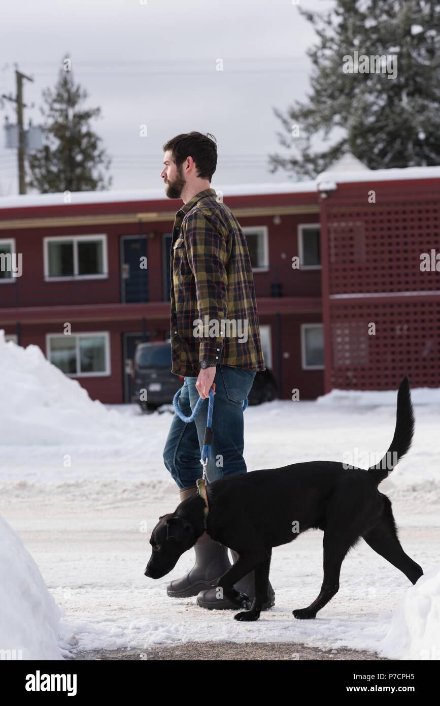Hombre caminando con su perro en la acera Imagen De Stock