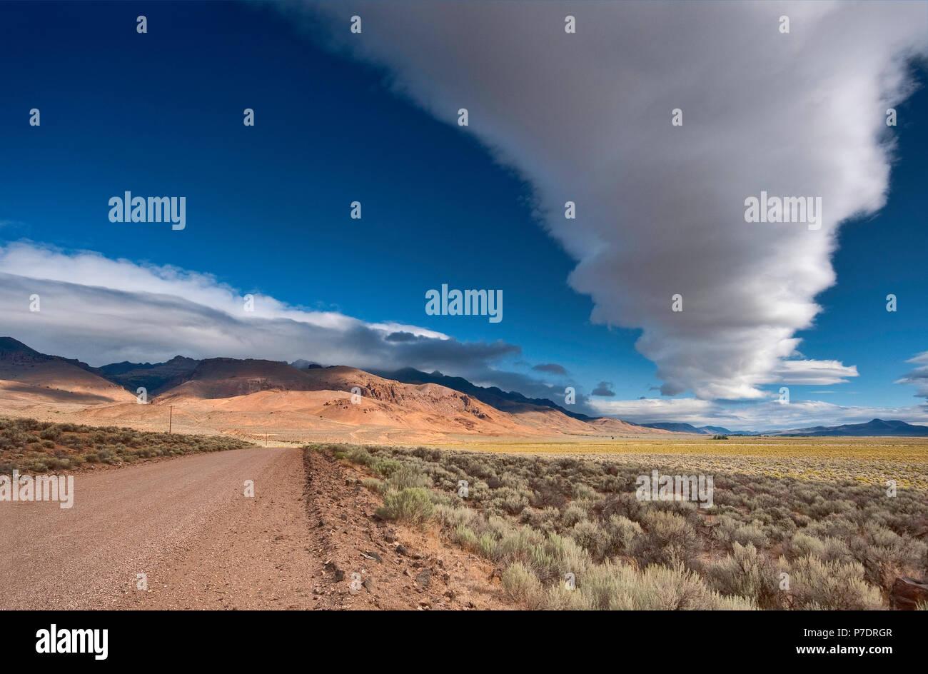 Gigante nube cumulus sobre Timor Steen Road cerca Steens Mountain, Alvord Desierto, parte del Great Basin Desert, Oregón, EE.UU. Imagen De Stock