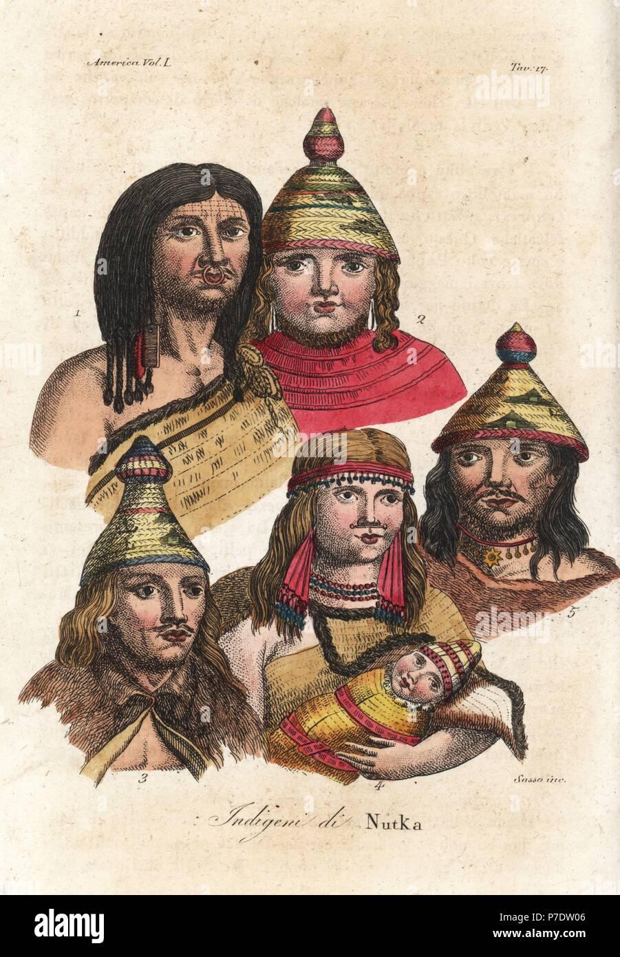 Los Americanos Nativos de Nootka. Nootka hombre con cejas tatuados y anillo  de la nariz 8a98ef8e4752