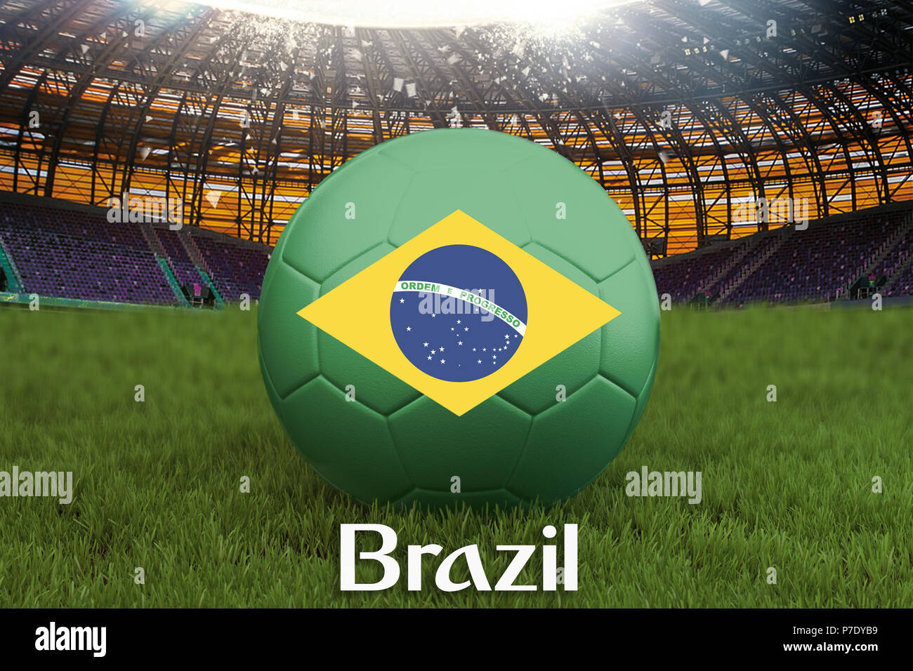 9d9ff89bb4f61 Selección brasileña de fútbol balón en gran estadio de fondo. Brasil Team  competencia concepto.