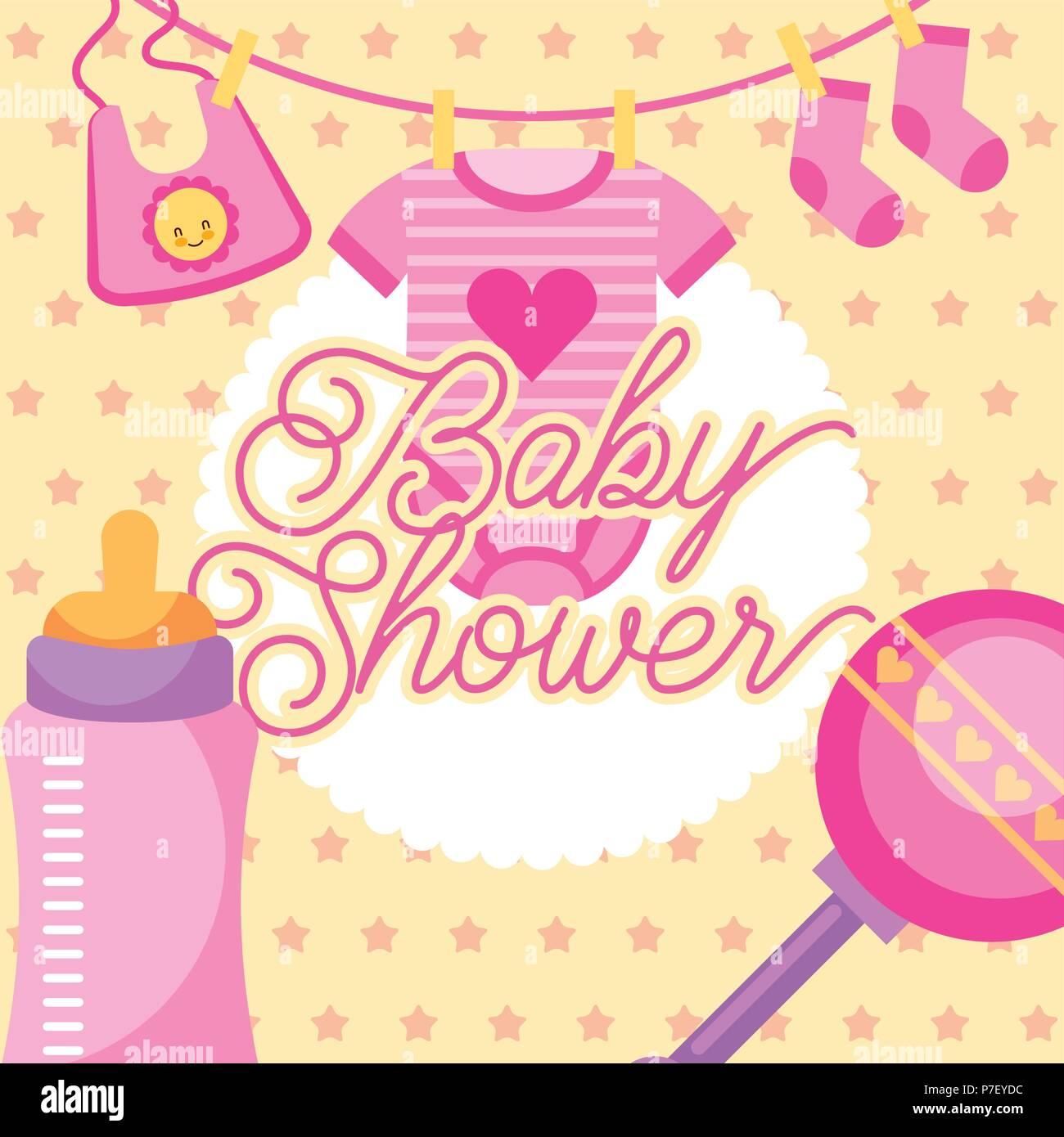 caf470d01 Ropa rosa y sonajero tarjeta de baby shower de biberones Ilustración ...
