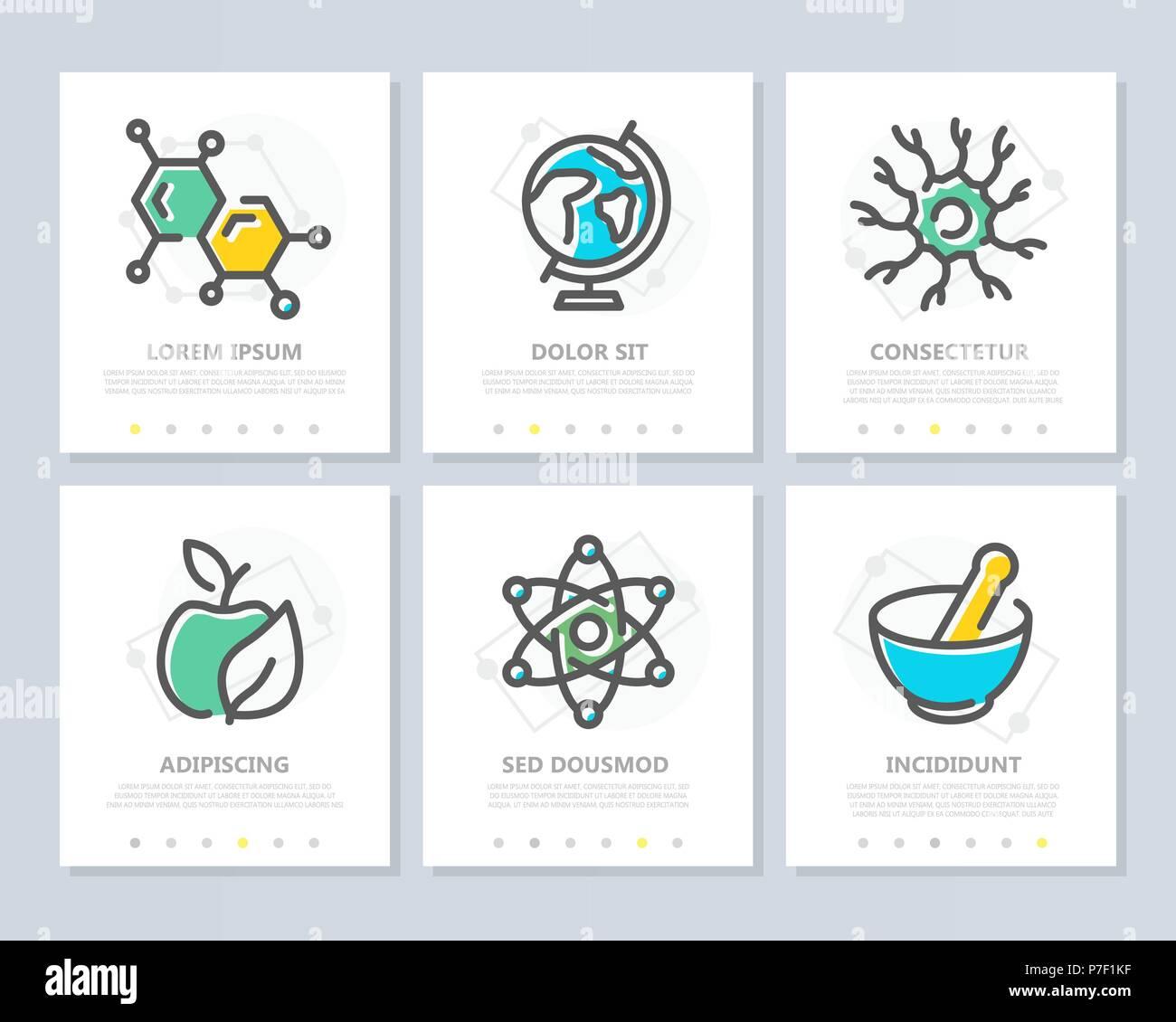 Conjunto de ciencia e investigación de vectores elementos coloreados ...