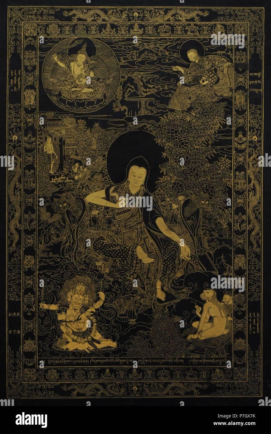 El líder espiritual tibetano Lama Skaya Pandita (1182-1251). El Tíbet. A principios del siglo XVIII. Los colores en el lienzo. El Museo Estatal del Hermitage. San Petersburgo. Rusia. Foto de stock