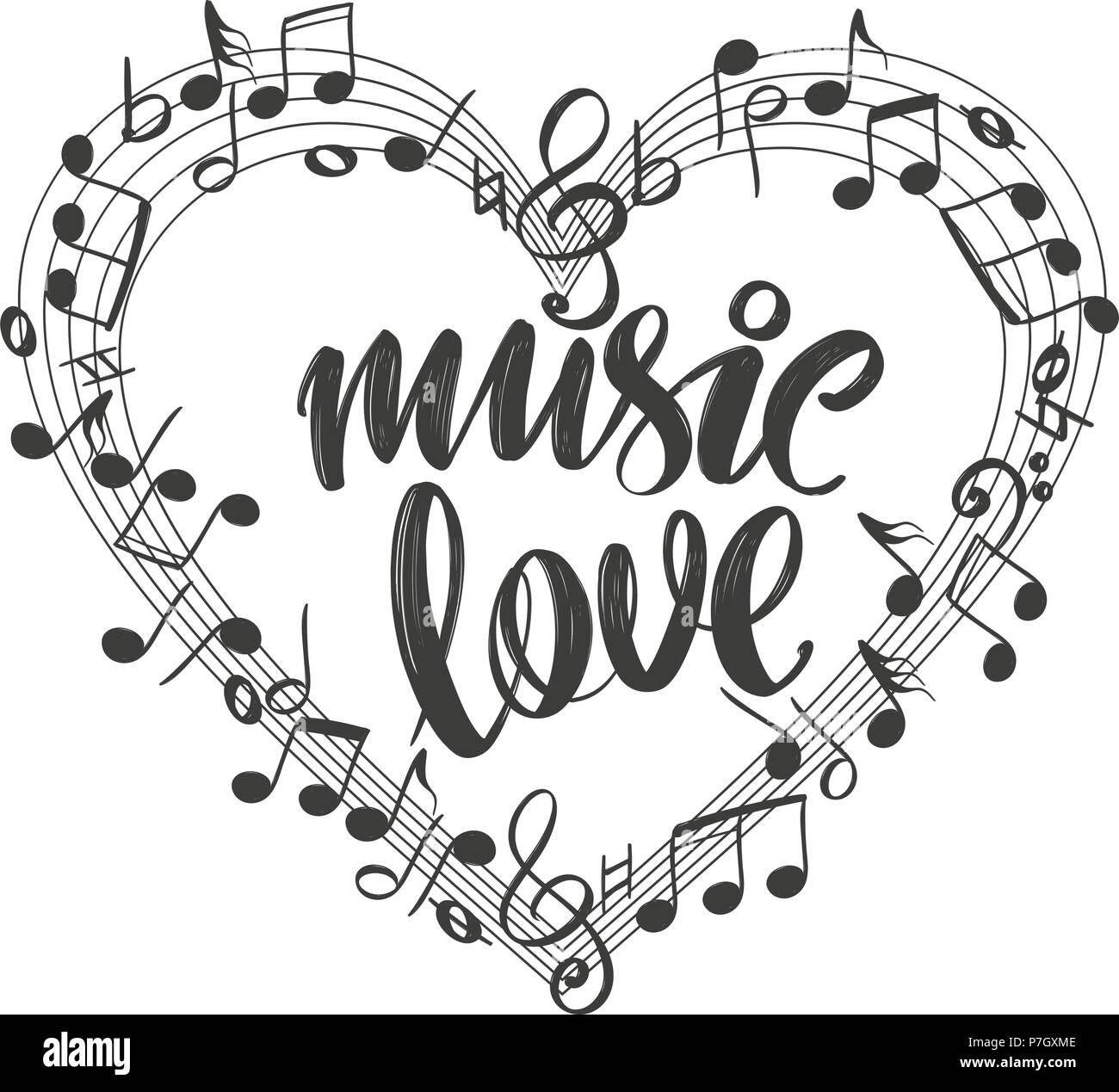 Las Notas Musicales En La Forma De Un Icono Con Forma De Corazón De