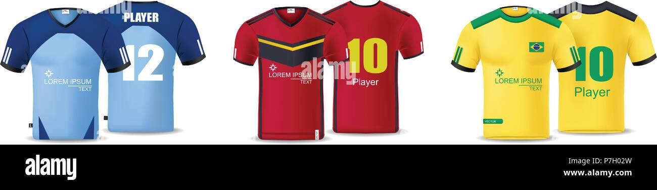 Camisetas de fútbol conjunto Vector. Plantilla de diseño para una camiseta  de fútbol y kit Tank Top para basketball jersey. 22437fb528abe
