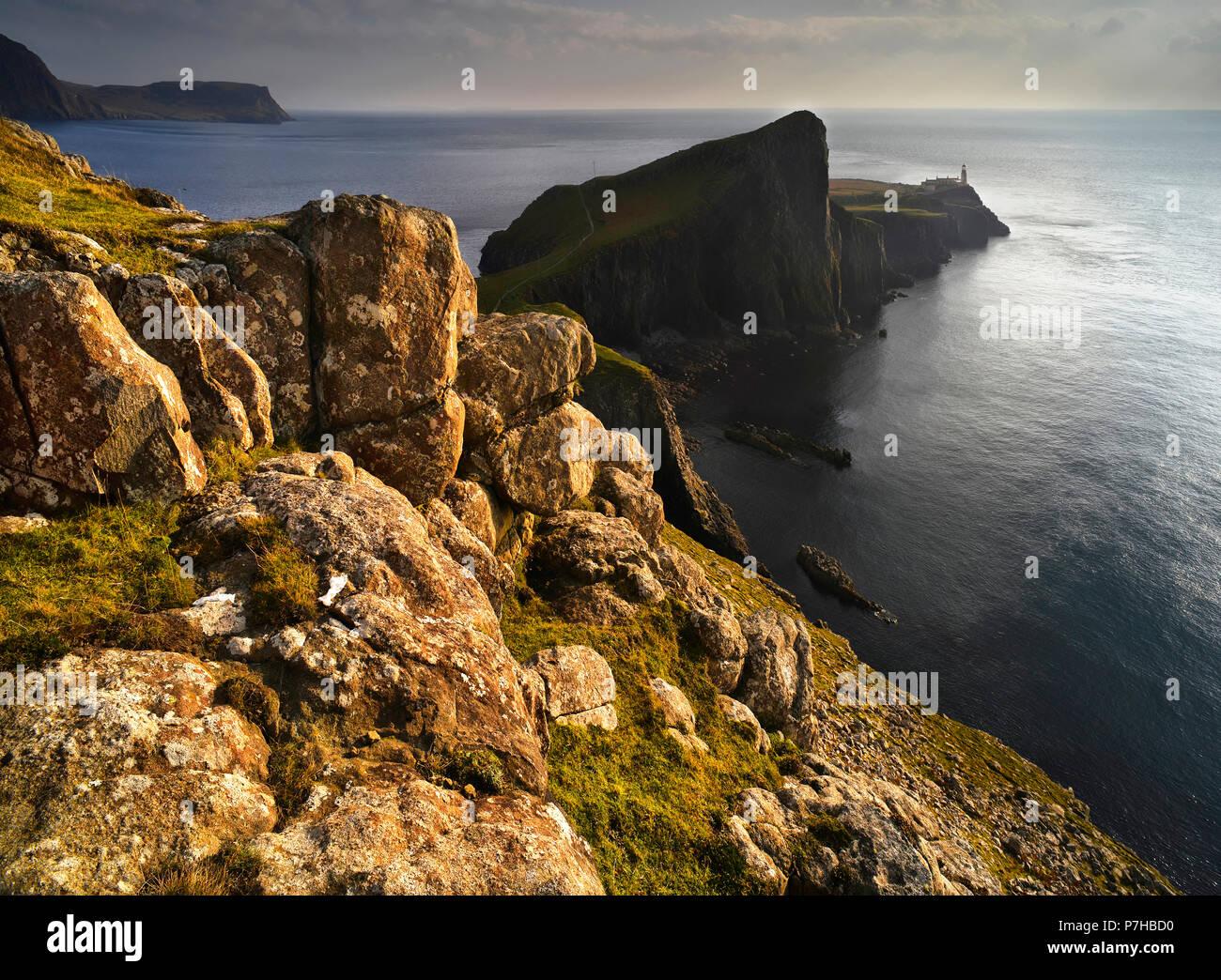 Neist Point al atardecer, la Isla de Skye Foto de stock