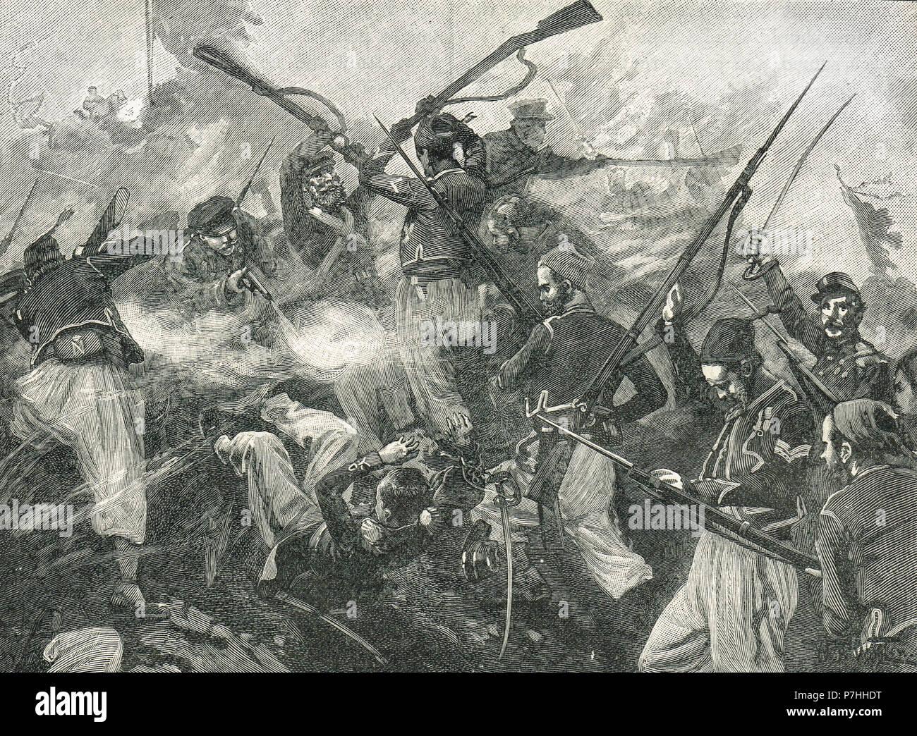 Los soldados franceses asaltar las fortificaciones en Malakoff hill, Guerra de Crimea, 1855 Foto de stock