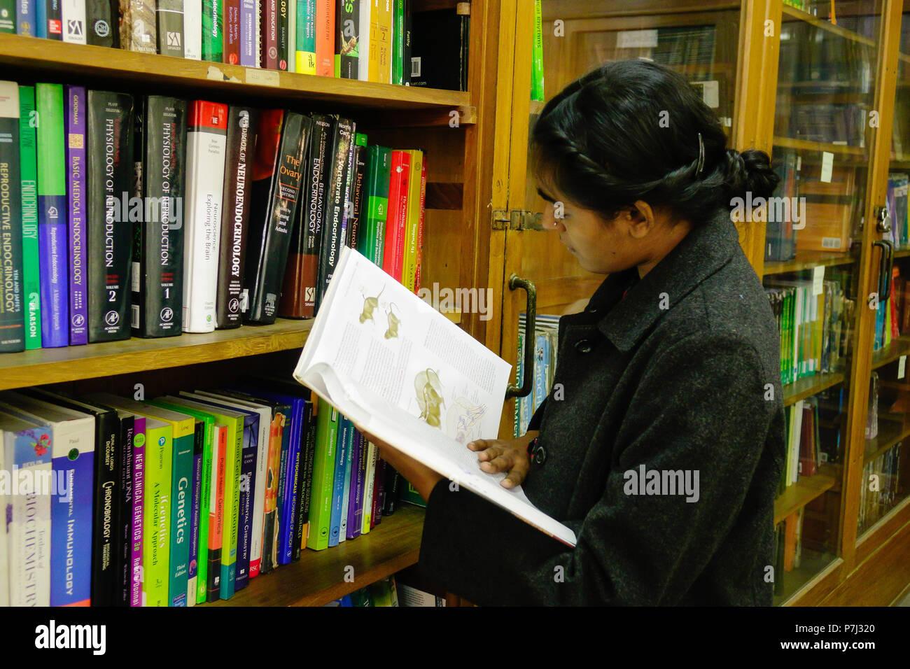 Una joven mujer India profesor buscando libros en el estante